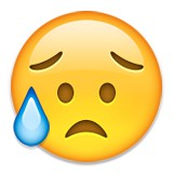 Crying with a sad puppy dog face emoji