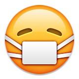Dr mask over face, sick emoji