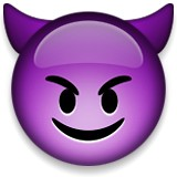 Purple mischevious devil emoji
