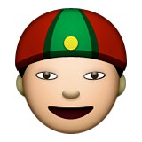 Asian man with gua pi mao emoji