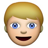 Boy with blonde hair and blue eyes emoji