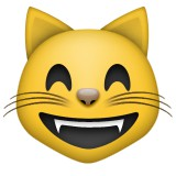 Smiling cat with eyes half closed emoji