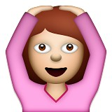 Girl with hands on head emoji