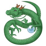 Green dragon in a swirl emoji