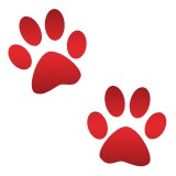 Red paw prints emoji