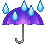 Umbrella with rain emoji