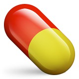Red and yellow pill emoji