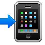Smartphone with blue arrow emoji