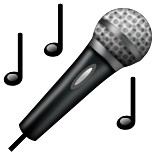 Microphone with music notes emoji