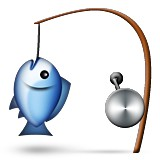 Fish caught on fishing line emoji