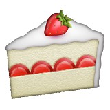 Slice of strawberry cake emoji