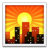 Sunset over city skyline emoji