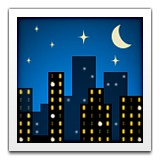 City skyline at night with stars emoji