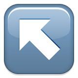 Diagonal arrow up and left emoji