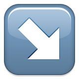 Diagonal arrow down and right emoji