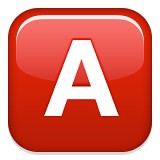 Capital letter A blood type A emoji