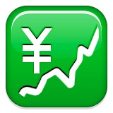 Upwards trending graph and yen sign emoji
